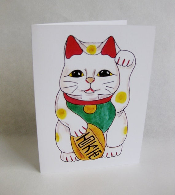 Mother's Day Card - Lucky Cat - Handmade and printed from original ink and gouache illustration