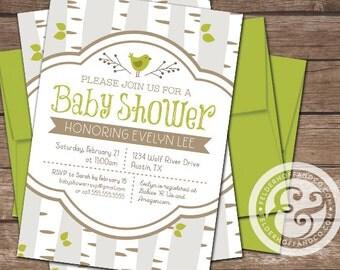 Printable Birds & Birch Trees Baby Shower Invitation