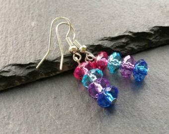 Colourful Rainbow Earrings, Beaded Earrings, Dangle Earrings