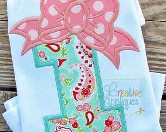 Bow Number 1 One First Birthday Applique Digital Machine Embroidery Design 4 Sizes, first birthday applique, 1st birthday applique, 1 bow