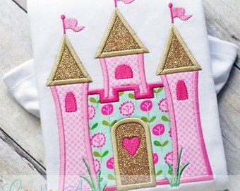 Castle Princess Digital Machine Embroidery Applique Design 4 Sizes