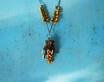 Alligator Foot and Seeds Long Necklace