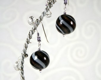 Hollow Black, White and Gold Blown Glass Beads with Sterling Silver Ear Wires