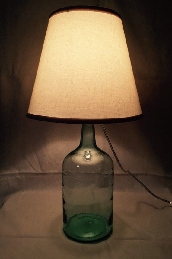 Glass Table Lamp Vintage Wine Bottle by