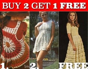 Special promotion free pattern - Three 70s Vintage Crochet Patterns - INSTANT PDF DOWNLOAD - Set 1