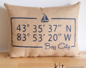 Personalized Map Coordinates Burlap Pillow - Sailboat pillow - Decorative pillow - Boat Pillow - Boating Gift - Sailing Gift - Nautical