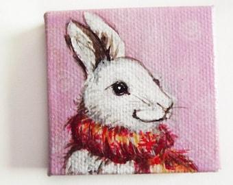 Adam rabbit original acrilic painting miniature canvas  1,97 x 1,97 inch white pink and red
