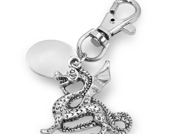 Custom engraved / personalised dragon keyring with gift pouch - PL118