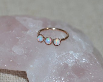 White 2mm Opal Nose Ring - Gold Nose Hoop - Tragus Earring - Cartilage Hoop - Forward Helix Earring - Septum Ring - Nose Piercing 18 gauge