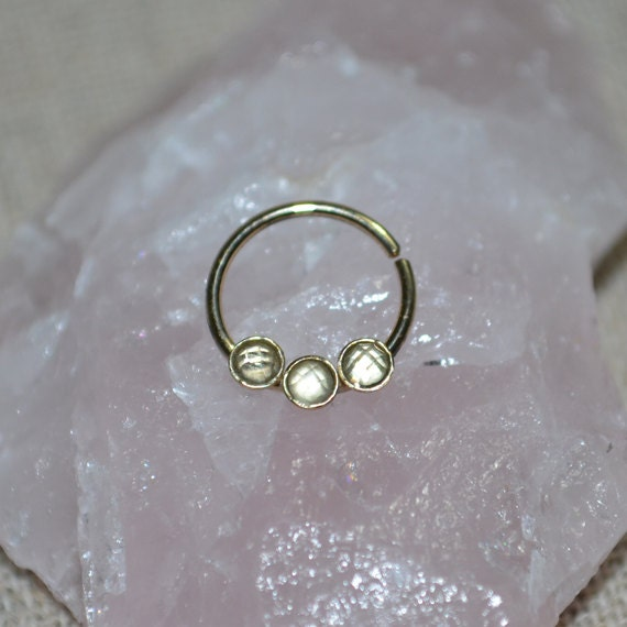 septum ring white topaz solid gold septum jewelry nose