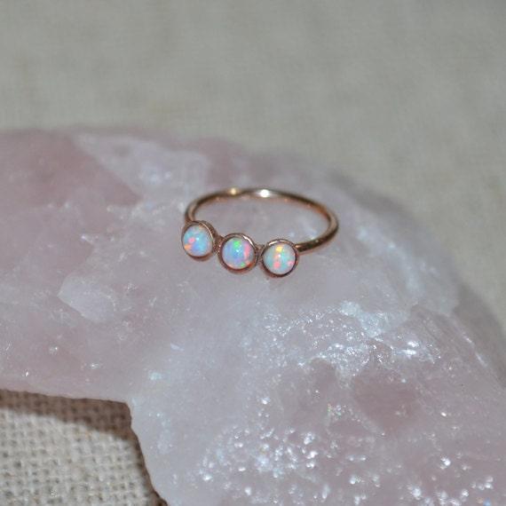White 2mm Opal Nose Ring - Gold Nose Hoop - Tragus Earring - Cartilage Hoop - Forward Helix Earring - Septum Ring - Nose Piercing 18 gauge