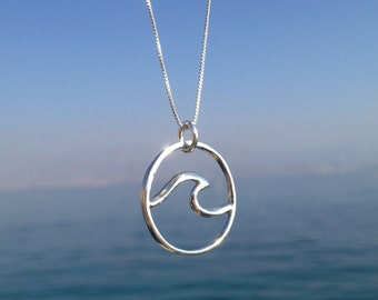 Wave Necklace, Surf Necklace, Silver Wave necklace, Surf Jewelry, Silver Necklace, Mermaid Jewelry, Surfer gift, Ocean jewelry, Beach, Ocean