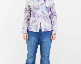 Vintage Purple Paisely Layla 70s Secretary Blouse