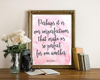 "Emma Jane Austen Quote, Mr. Darcy Quote, Jane Austen Quote, Jane Austen Print, Watercolor, Book Quote, Typography Print, Love Quote, ""Print"""