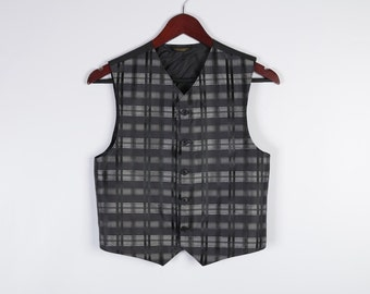 Boys Black Silver Plaid Formal Vest Gray Checkered Children's Waistcoat