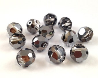8mm SILVER NIGHT 5000 Swarovski Crystal Faceted Round Beads Special Effects, 12 pieces or 48 pieces