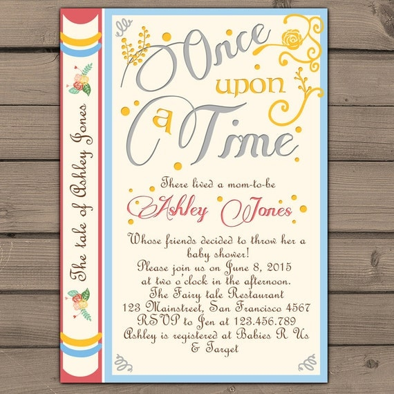Once Upon A Time Baby Shower Invitation Shower Invite Gender