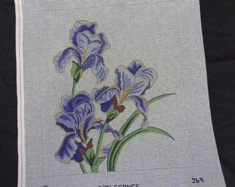 Lily Needlepoint Canvas D'Egelance Purple  FREE Shipping USA
