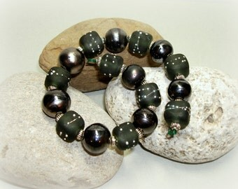 SRA Handmade Lampwork Beads - Gunmetal