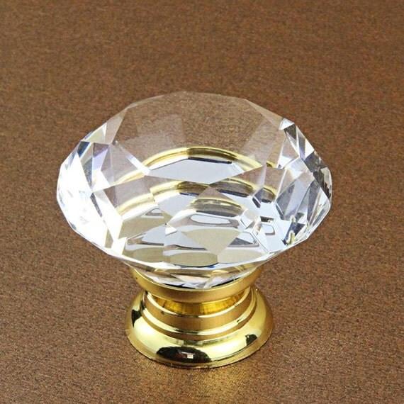 Gold Glass Knobs / Dresser Knobs / Drawer Knobs Pulls Handles