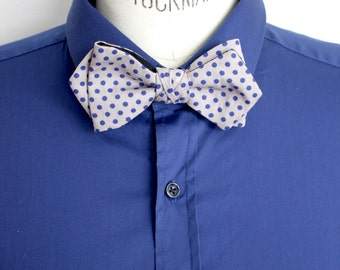 Bow tie knotted polka dot gray and blue.