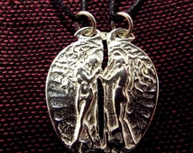 Couple's Necklace Pendant Anniversary Sterling Silver 925 Adam and Eve Garden of Eden Romance Love Marriage Valentine