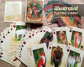Mountain Animal Playing Cards Poker Deck Illustrated bears cougar antelope bison buffalo moose pika fox wolf skunk
