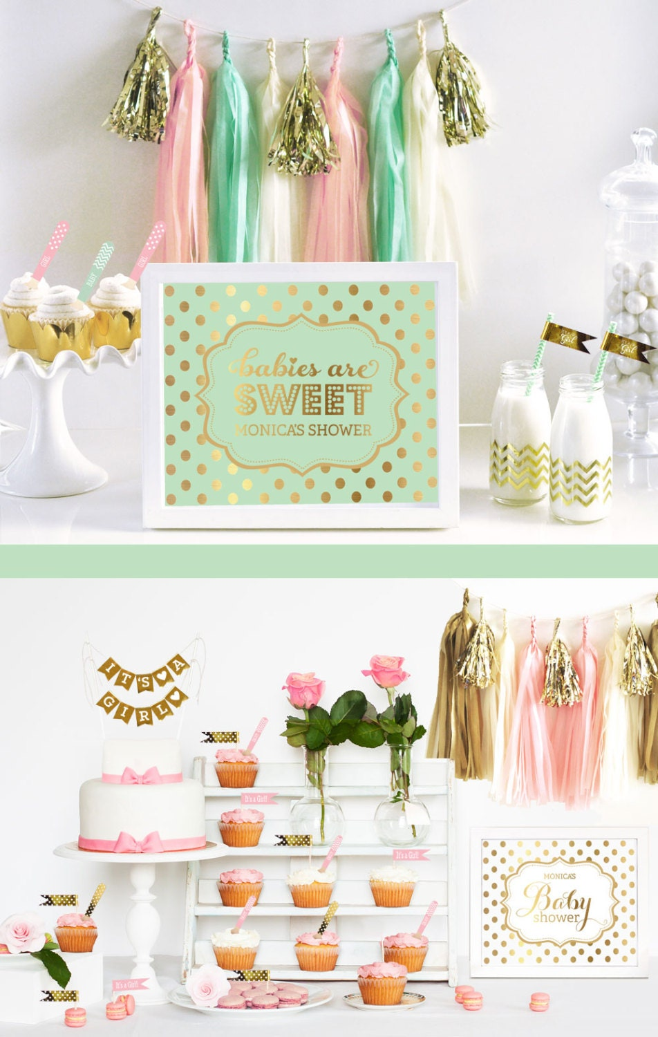 mint and gold baby shower decorations sign personalized mint