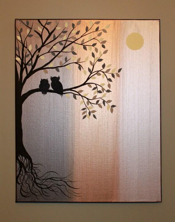 Original Peinture Acrylique Abstraite Toile Racines Owl Silhouette