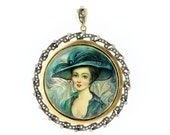 Teal Peacock Lady Portrait Silver, Gold, and Diamond Convertible Brooch/Pendant
