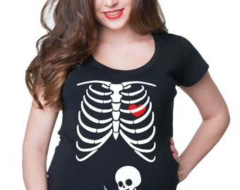 Skeleton X-ray Baby Funny Maternity Tee Shirt  Baby Reading Book Pregnancy T-shirt