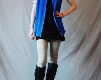 Vintage 80s blue vest/top accordion pleats glitter embroidery party Size small/medium/large