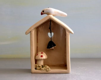 Little ceramic house , white house , miniature house home decor , housewarming gift
