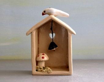 Little ceramic house , white house , miniature house home decor , housewarming gift