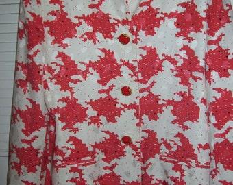 Vintage E Strauss jacket blazer geometric size 14 gorgeous cotton lined topping!