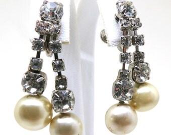 Pearl Dangle Earrings - Vintage, Silver Tone, Clear Rhinestone, Faux Pearls, Screw Back Earrings