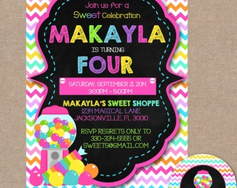 Sweet Shoppe Birthday Invitation, Sweet Shoppe Birthday Party, Candyland Invite, Sweet Shop Invitation, Pink, Candy Shop Invite (#354)