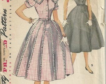 Vintage 1950s Simplicity 4967 Sewing Pattern - 1950s dress pattern