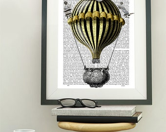 Baroque Balloon Black & Yellow Hot air balloon - Hot Air Balloon decor vintage hot air balloon art print french print french decor
