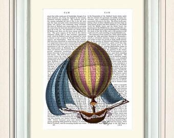 AirShip Blue Sails Hot Air Balloon Print, Upcycled Dictionary Print, Balloon Illustration wall art wall decor wall hanging, book page art