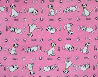 Perky puppies on pink dog bandana slides over the collar