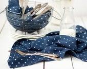 Tea towels - Polka dot towels set of 2 - Linen tea towels - Polka dot blue linen kitchen towels - Softened linen towels - Easter towels 2
