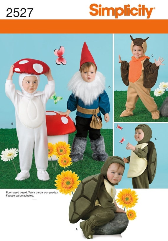 Uncut Simplicity 2527 Gnome, Turtle, Mushroom, Owl Costume Sewing Pattern Toddler sizes 1/2,1,2,3,4