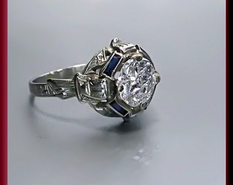 Vintage Art Deco Antique Engagement Ring Old European Cut Diamond 20K White Gold Wedding Ring