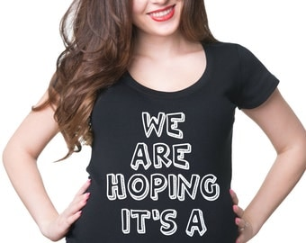 Pregnancy Top We Are Hoping It's A Kitten T-Shirt Funny Maternity Top Gift For Pregnant Woman
