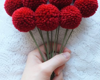 Dark Red Yarn Pom Pom Flowers: Set of 12