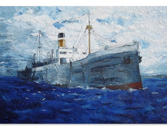 Cargo ship original oil painting, large seascape painting stretched canvas