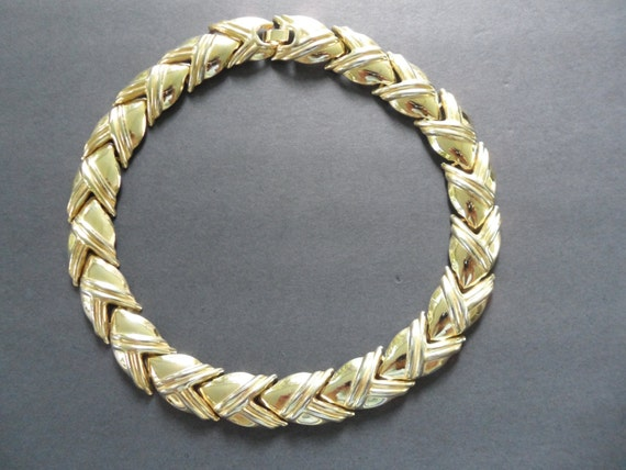 vintage gold link necklace haute couture gold collar necklace