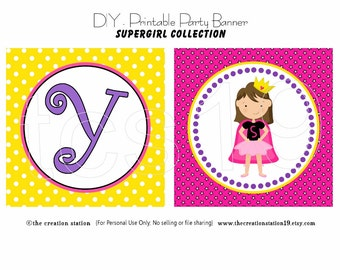 PRINTABLE Party Banner - SuperGirl - INSTANT DOWNLOAD