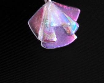 Dichroic glass, fused dichroic, fan pendant, dichroic pendant, fused glass necklace, fused glass, dichroic necklace, dichroic jewelry, glass